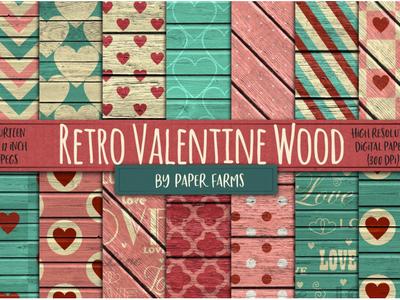FREE Retro Valentine Wood by PaperFarms patterns hearts love freebies wood retro valentine day free graphics freebie free