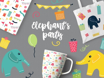FREE Elephant's Party by TheHungryJpeg jpeg png wallpaper cliparts clip art clipart pattern freebies freebie illustration design elephants elephant
