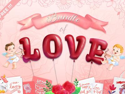 FREE Bundle of Love free graphics graphics design illustration free script design bundle free typeface free font