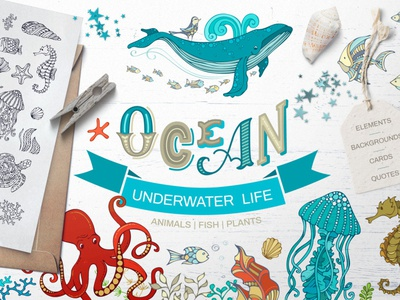 FREE Ocean Underwater Life cliparts clipart design free free font illustration