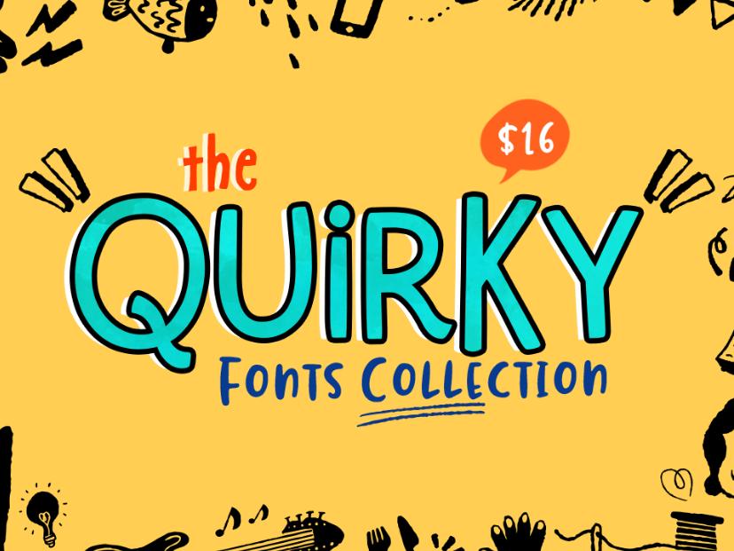 Quirky Font Collection sans serif font sans serif sanserif script font bundle font design fonts