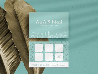Business Cards for Nageldesignerin Anastassiya nail illustrations illustration branding design branding branding and identity business card template business card mockup business cards nail business cards nail business card nail design nail salon nail art nails business card design business card businesscard