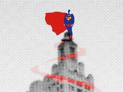 Wordless News 5.20.13 superman industrial building art deco newspaper save texture vector illustration