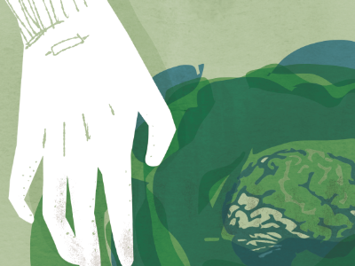 Garden gloves hands illustration texture brain cabbage