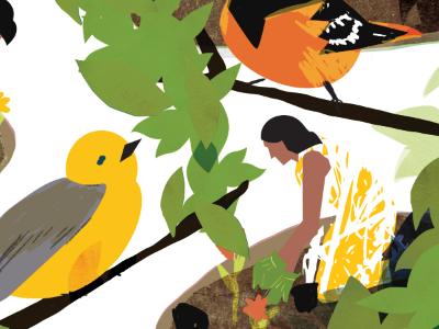 Migration birds women garden plant grow texture digital