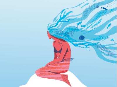 mermaid digital illustration gradient coral waves sea ocean underwater fish texture mermaid
