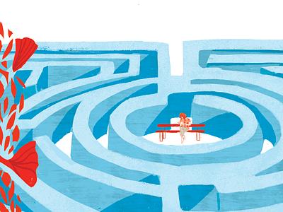 Recess recess flowers hedge labyrinth meditation texture illustration
