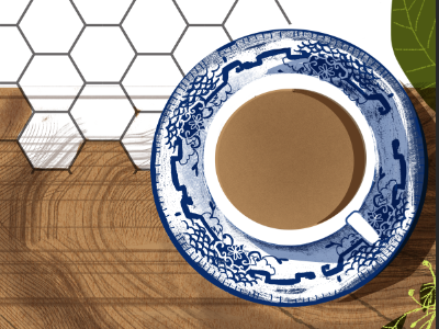 Fancy Friday Coffee pattern plants marble wood saucer cup coffee texture illustration