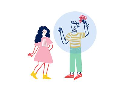 Love in the time of Quarantine 🌸⚪️👩❤️💋👨⚪️🌸 love dating quarantine bubble funny lol doodle illo illustration