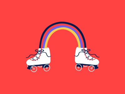 Rainbow Skates 🌈🎢👟 rollerskate roller skating skating ice skating rainbow procreate funny lol sketch doodle illo design illustration