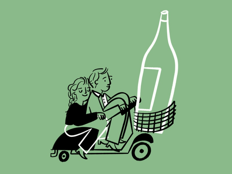 Ciaaaaaaooo 🍷🍾🛵 love couple scooter vespa wine bottle wine procreate funny lol sketch doodle illo design illustration
