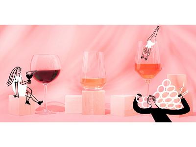 Winescape 🍷🍷🍷 grapes drinking vino wine glass wine funny lol sketch doodle illo design illustration