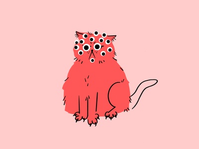 I see you Monday 😤👀 meme googly eyes cat procreate funny lol sketch doodle illo design illustration