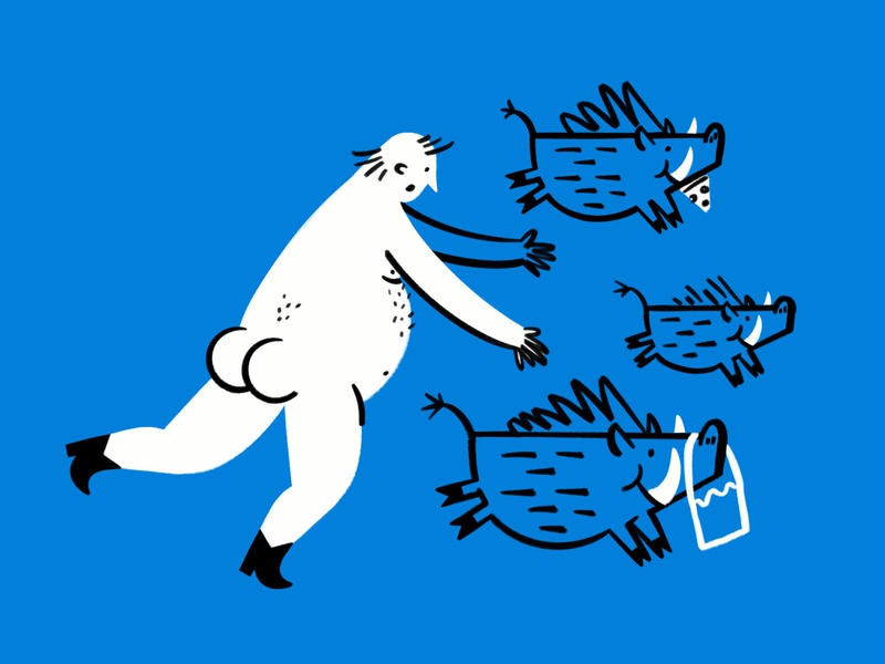 Potbelly chasin' potbellies 😎🐗🍑 thief nudist berlin butt boar funny lol sketch doodle illo design illustration