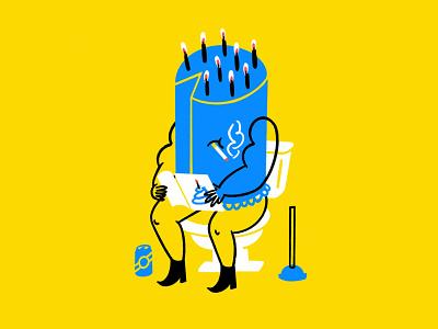 Pandemic Birthdays 🚬🎂🚽✨ cigarette disappointing sad birthday card toilet birthday cake birthday cake procreate funny lol sketch doodle illo design illustration