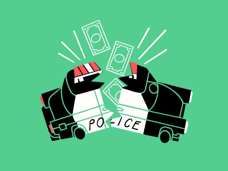 Defund The Police 🐖🔨💸🥓 black lives matter blm funny lol sketch doodle illo design illustration money piggy bank break cop car cops defund the police