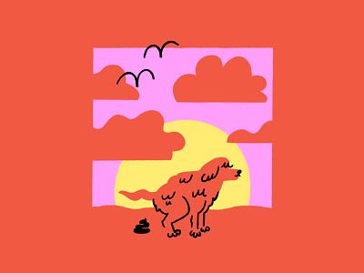 Shitting dog at sunrise🌞🐕💩 shitting pooping shit dog birds sunset sunrise funny lol sketch illo doodle design illustration