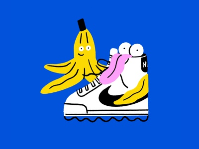 Unlikely friends 🍌👟 face tongue nike shoe banana friends funny lol sketch doodle illo design illustration