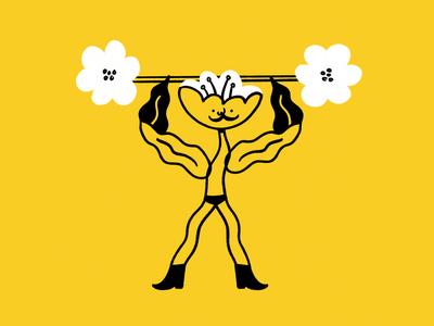 Body-build me up Buttercup 💪🌼 plant buttercup barbell bodybuilder flower procreate funny lol sketch illo doodle design illustration