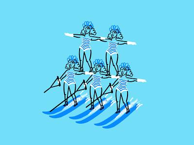 Synchronized Water Skiing 💅🏻🏊🏻♀️🏄🏼♀️ procreate matching outfits women synchronized water skiing water ski funny lol sketch doodle illo design illustration