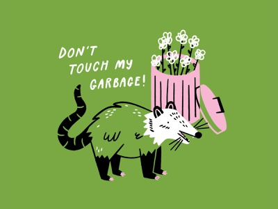 Don't Touch My Garbage!! 🌿🗑🦝🌿 meme garbage possum procreate funny lol sketch doodle illo design illustration