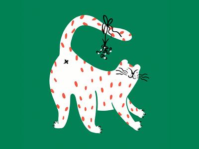 Merry merry ya dingleberries! 🐈🌿✨ procreate lol sketch doodle illo design illustration funny kiss mistletoe dingleberry butt cat
