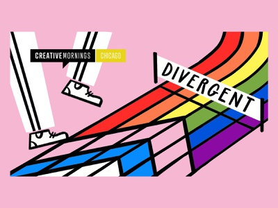 Divergent equality olympics doodle illo design illustration run runner racetrack race pride ally trans rainbow divergent creative mornings