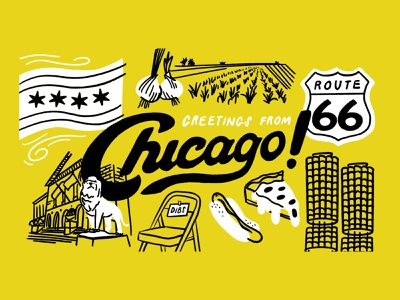 Chicago postcard 💌 postcard route 66 onions dibs hot dog pizza art institute city procreate sketch doodle illo design illustration chicago