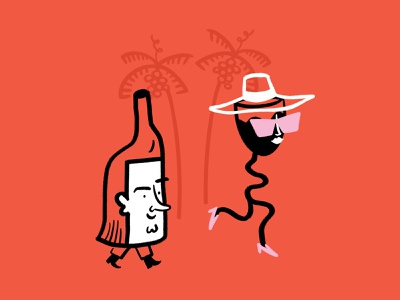 Wine o'clock 〰 🍷 〰 wineglass bottle miami wine procreate funny lol sketch doodle illo design illustration