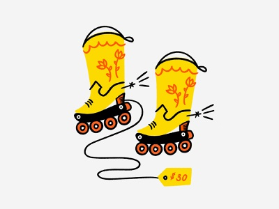 These boots were made for bladin' 🛼🏄🏼‍♀️🤙 meme blades rollerblades cowboy boots cowboy procreate funny lol sketch doodle illo design illustration