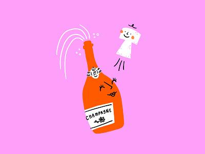 Poppin' Champagne 🍾👶🏼🍼 celebration pop cork bottle champagne announcement baby procreate funny lol sketch doodle illo design illustration