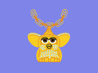 Furby bling ⛓💎👀 necklace chains diamonds uncut gems furby funny lol sketch doodle illo design illustration