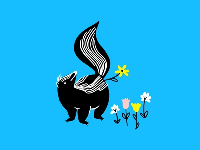 Stop & smell the flowers 🌸🌼🦨🌼🌸😘 stink butt skunk flowers funny lol sketch doodle illo design illustration