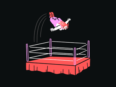 Wrastlin' deep dive 🤾♀️😎🤼 mullet wrestling jump wrestler stage dive funny lol sketch illo doodle design illustration