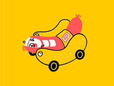 The wienermobile is hell on buns 🌭🚗🔥 novelty car oscar meyer weenie wienermobile hot dog wiener funny lol sketch doodle illo design illustration