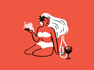 Maybe she's born with it, maybe she's a mermaid 🧜♀️ wine grapes woman beach babe mermaid sketch doodle illo design illustration
