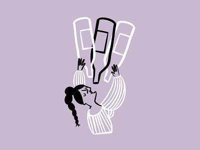 Wine not? 🍷🍷🍷 drinking wine bottles woman sketch doodle illo design illustration
