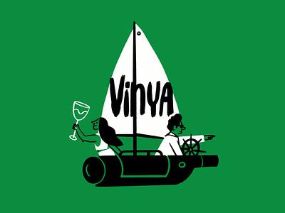 Wine-ho! ⛵️🍷 sailboat ship wine bottle wine sketch doodle illo design illustration