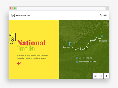 Highways 101: India typography map highway midcentury web design ui