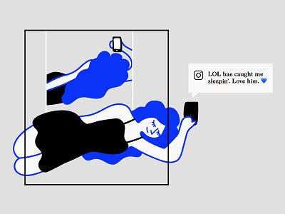 LOL bae caught me sleepin'. Love him. 💙 post mirror instagram design illustration illo lol meme funny woman