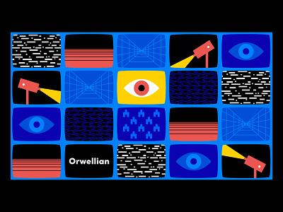 Big Bro white bear black mirror static graphic eye sxsw orwell surveillance monitor tv illustration design