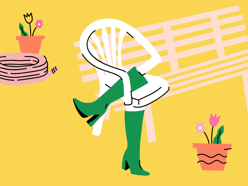 Spring hath sprrrrung bitches boots bench flowers hose chair wtf lol funny doodle illo illustration design