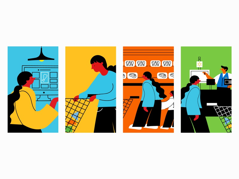 Shopping Journey pt. 1 characters customer journey map grocery store shopping cart person grocery woman shopping illo illustration design
