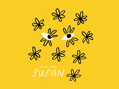Black-Eyed Susans 🌼👀🌼 wildflowers texas black eyed susans sketch procreate eyes flowers doodle illo illustration design