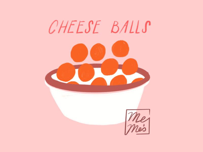 Cheezeballs food bowl cheese balls procreate ipad lol doodle sketch illo illustration design