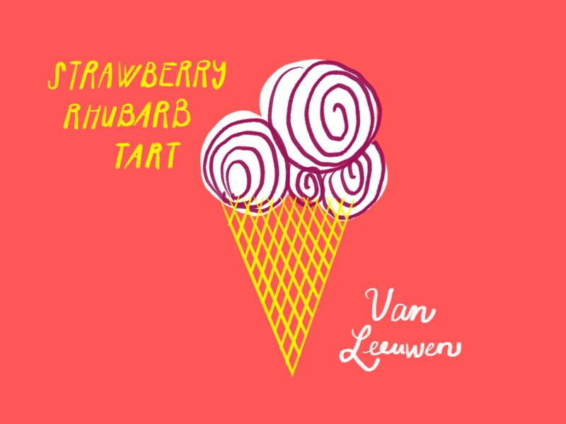 Strawberry Rhubarbie icecream rhubarb strawberry ice cream cone ice cream procreate ipad doodle sketch illo illustration design
