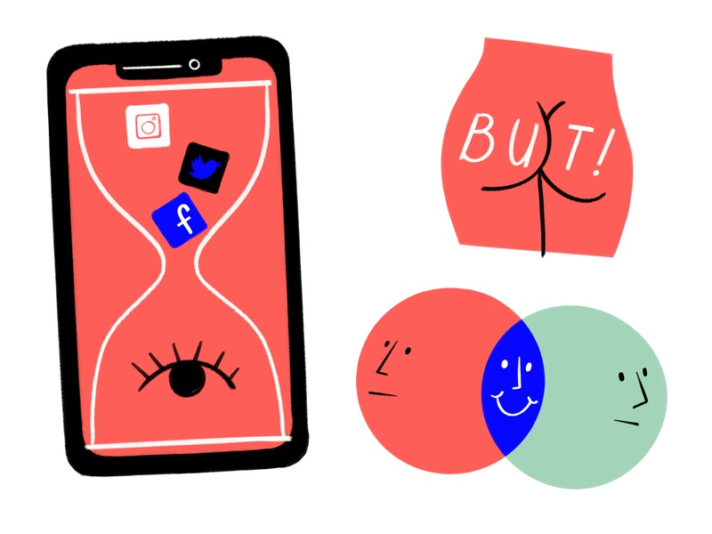 Some ASSets face hourglass screen time phone venn diagram butt procreate ipad lol doodle sketch illustration design social media