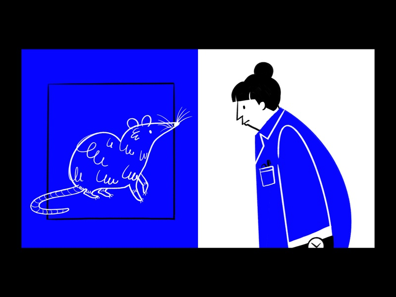 Who moved my cheese?  🐁👩🏻🔬 science experiment cage character woman procreate ipad ethics lol sketch doodle illo illustration design laboratory scientist rat