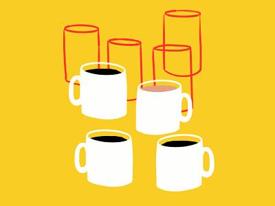 Elephant Delicatessen sketch doodle illustration illo glasses mugs coffee