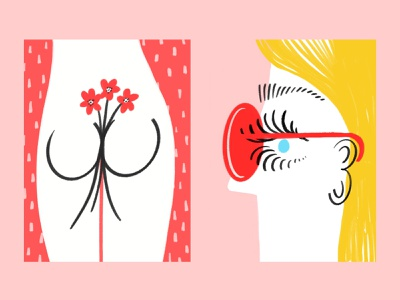 🍑🌺🕶👀 slowdown procreate ipad flowers sunglasses butt woman sketch doodle illo illustration design